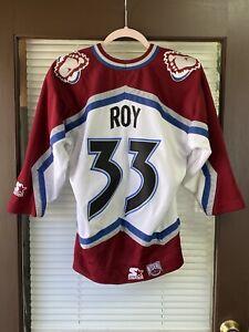 Vintage STARTER Colorado Avalanche Patrick Roy #33 NHL Hockey Jersey 90's Sakic