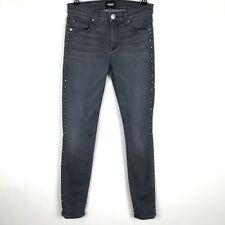 $189 Hudson Jeans Women's Size 25 Gray Nico Super Skinny Mid Rise Studded