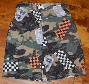 Boy's OP Green & Brown Camo Slip On Drawstring Swim Shorts Sizes 8, 10-12