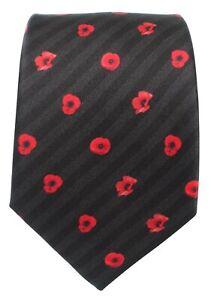 Red Poppy silk tie, Remembrance, Armistice Day,British Army Royal Navy RAF