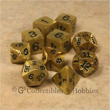 NEW 10 Olympic Pearlized Gold D&D RPG Game Dice Set in Tube Koplow D20 D12 D8 +