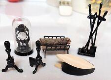 10 pc Miniature Dollhouse Fireplace Tools Logs Clock Bellows Andirons 1:12 Black