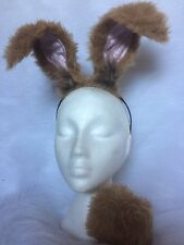 Floppy Mad March Hare Ears & Clip On Tail Rabbit Fancy Dress Unisex One Size Set