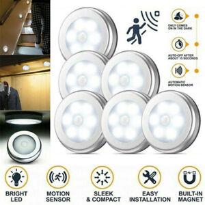 6-LED Motion Sensor Lights PIR Wireless Night Light Battery Cabinet Stair Lamps