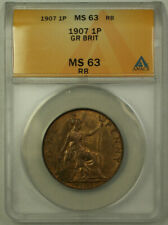 1907 Great Britain 1 Penny Coin King Edward VII ANACS MS 63 Red Brown