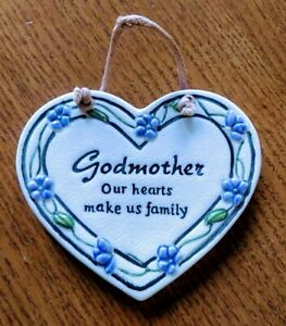 Godmother Heart Plaque Small Ceramic Inspirational purple floral