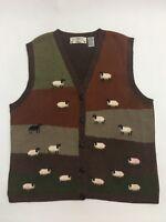 Orvis Brown Green  Sheep Pattern Sweater Vest Farm Country  Sz XL