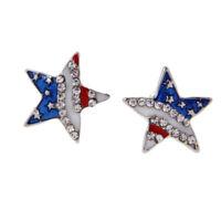 Stylish American Flag USA Star Design Earrings Ear Studs Patriotic Jewelry