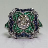 Huge Princess Cut Women  Silver Sapphire Gemstone Wedding Bridal Ring Size 6-10