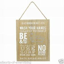 Bathroom Rules Wooden Bathroom Plaque Sign Chic Shabby Wall Rustic 24cm x 30cm