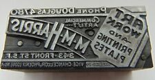 Printing Letterpress Printers Block M M Harris Art Work And Printing Plates
