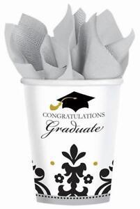 Black & White Grad Congrats School Graduation Theme Party 9 oz. Paper Cups