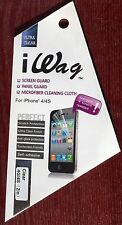 New Apple iPhone 4/4s iWag Screen Guard, Panel Guard With Micro Cloth