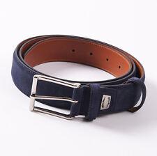 New $295 SANTONI Navy Blue Calf Suede Leather Dress Belt 44 W