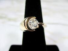 Ring Heavy 14K Yellow Gold Size 5 .82 Carat Natural Diamond Modernist Moon & Sun