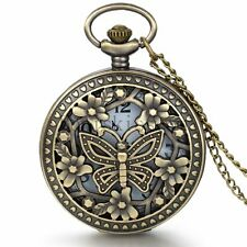 Retro Bronze Hollow Butterfly Case Quartz  Pocket Watch Necklace Sweater Chain