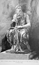 MOSES Sculpture Statue by Michelangelo - 1888 Original Print