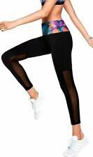 Victoria's Secret Pink Ultimate High Waist Mesh Ankle Leggings Black Tropical M