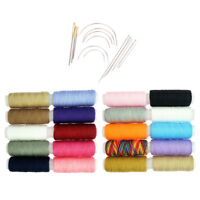 34Pcs Colorful Polyester Sewing Thread and Curved Needles for Household Use