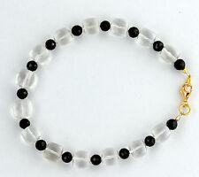Mountain Crystal with Black Spinel Bracelet Gemstone Bangle Cuboid White Jewelry
