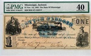 1862. $1    Jackson, Mississippi Cotton Pledged.  PMG 40 .CR# 28
