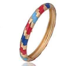 Awesome New Contemporary Design ZigZag Yellow Gold Filled Enamel Bangle Bracelet