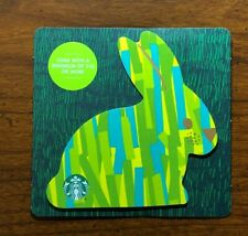 STARBUCKS Gift Card 2019 Die Cut Bunny Rabbit Green Happy Easter Egg No $ Value