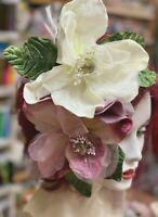 MAGNOLIA Large ORGANZA & VELVET FLOWER LEAF 1pc
