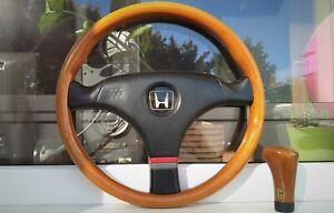 Honda Access MOMO Wooden Steering Wheel and Shift Knob ITR CRX EE EG EK EJ Rare
