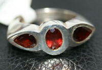 Modern Designer 925 Sterling Silver 2.4CT Three Stone Garnet Women's Ring Sz 7.5