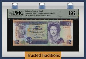 TT PK 52b 1991 BELIZE 2 DOLLARS BEAUTIFUL QUEEN ELIZABETH II PMG 66 EPQ GEM UNC.