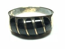 Size 8.25 - Mexico - Free S&H Vintage Ladies Sterling Silver Black Onyx Ring -