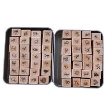 Vintage Wooden Rubber Stamps Mini Vintage Alphabet Letters Album Ornaments SH