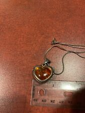 """Sterling Silver & Amber With Organic Fossil Pieces Heart Pendant 18"""" Necklace"""