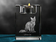 LaPerm Cat, crystal candlestick with cat, souvenir, Crystal Animals Usa