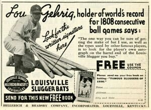 1937 Vtg Original LOU GEHRIG In LOUISVILLE SLUGGER Bats Ad.Hillerich & Bradsby