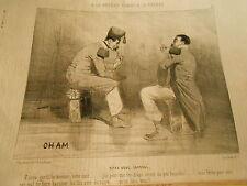 Caricature 1846 - A la guerre Bivouac Faire des lits avec du sucre