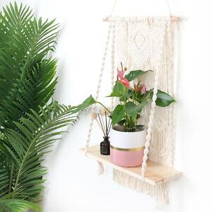 Macrame Plant Hanger Basket Bohemian Hand Woven Flower Pot Holder Shelf