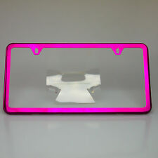Slim License Plate Cover Frame Holder 2 Hole Stainless Steel Chrome Candy Pink