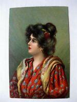 1910s Postcard  Beautiful Woman Portrait Nice Color Artist Signed