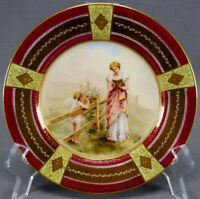 Royal Vienna Style Hand Painted Signed Woman Reading & Cherub Dessert Plate