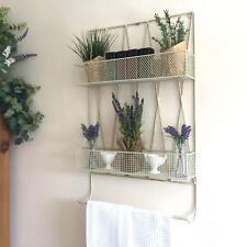 Vintage Style Kitchen Wall Unit Shelf Storage Basket Rack Spice Towel Rail Cream