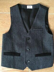 BoysSmart Grey/Black Waistcoat age 3-4