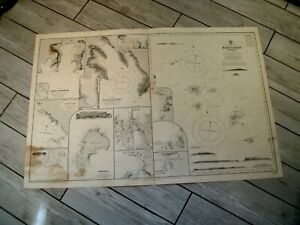 Vintage Admiralty Chart 1640 SOUTH PACIFIC - MARQUESAS ISLANDS 1869 edn