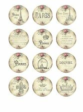 """Paris Card Toppers - 12 x 2"""" Circles Scrapbooking Card Making Table Decor"""