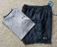 Lot of 2 Men's Under Armour Heatgear Athletic Running Gym Shirt & Shorts SZ M