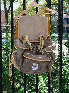 Vintage Lafuma Hiking Backpack. Made in France. Khaki with Yellow Trim