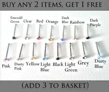 Small Gem Crystal Nose Stud Hoop Bar Straight Ball End Various Colours UK Seller