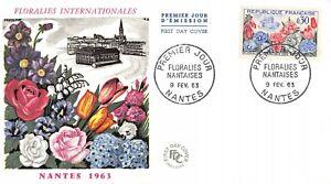 Enveloppe FDC France FLORALIES NANTAISES 1963 NANTES