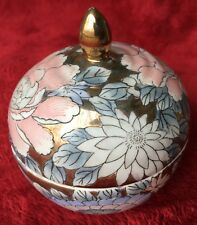 Chinese bowl with lid with peony design and gold accents